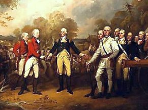 British General Burgoyne surrenders at Saratoga, New York