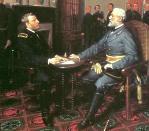 Grant accepts Lee's surrender at Appomattox Court House, April 9, 1865.