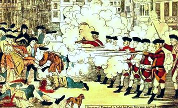 Paul Revere's depiction of the Boston Massacre, 1770
