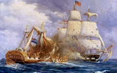 """Old Ironsides"" (U.S.S. Constitution) battles the Guerriere"