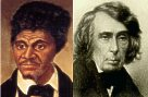 Dred Scott (left) and Chief Justice Roger B. Taney.