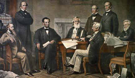The presidential cabinet of Abraham Lincoln, drafting the Emancipation Proclamation.