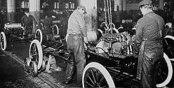 Model T assembly line at the Ford Motor plant.