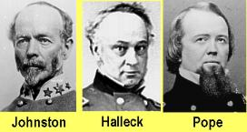 Confederate General Joseph Johnston and Union Generals Henry Halleck and John Pope.