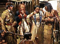 Lewis and Clark trade with the Indians.