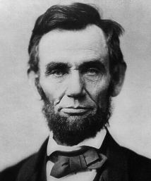Abraham Lincoln (1809-65), 16th US president, 1861-65.