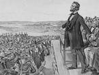 Abraham Lincoln delivers the Gettysburg Address, Nov. 19, 1863.