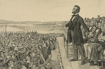 Abe Lincoln delivering the Gettysburg Address.