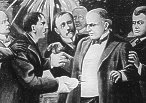 An artist's depiction of the assassination of President McKinley.