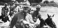Gen. John J. Pershing leads American forces across the Rio Grande into Mexico.