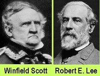 Union General Winfield Scott and Confederate General Robert E. Lee.