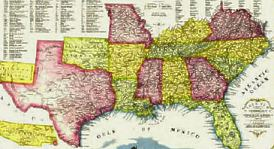 Seceding states at the onset of the Civil War.