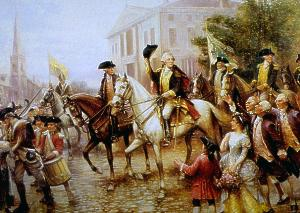 Washington enters New York City